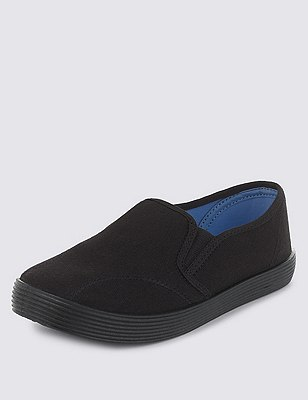 Elasticated Panel Plimsolls with New & Improved Fit, BLACK, catlanding