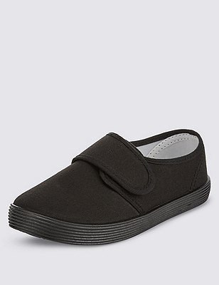 Plimsolls with New & Improved Fit, BLACK, catlanding