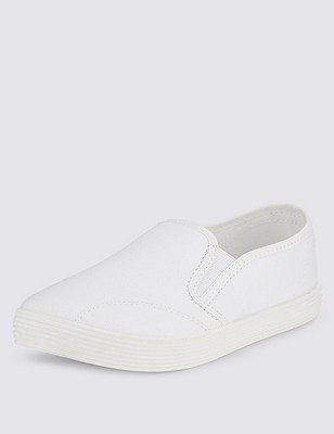 Kids' Elasticated Panel Plimsolls with New & Improved Fit, WHITE, catlanding