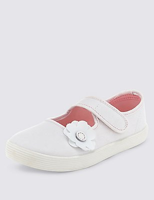 Kids' Canvas Floral Applique Plimsolls, WHITE, catlanding