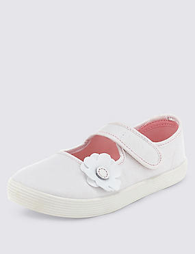 Kids' Riptape Floral Appliqué Plimsolls with New & Improved Fit, WHITE, catlanding