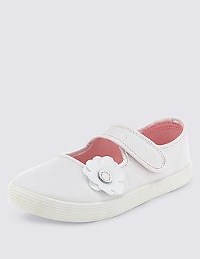 Zapatillas de lona infantiles con aplique floral de ajuste nuevo y mejorado con velcro, BLANCO, catlanding
