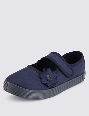 Kids' Riptape Plimsolls with New & Improved Fit, NAVY, catlanding