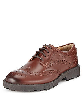 Kids' Leather Lace-up Brogue Shoes, BROWN, catlanding
