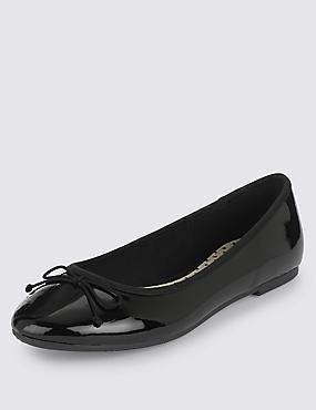 Kids' Pull-on Ballet Shoes, BLACK, catlanding