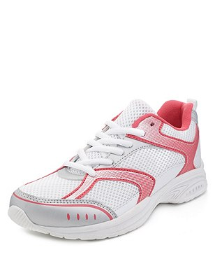Kids' Freshfeet™ Scuff Resistant Sports Trainer with Silver Technology, WHITE MIX, catlanding