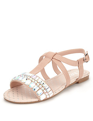 Open Toe T-Bar Jewel Embellished Sandals Clothing