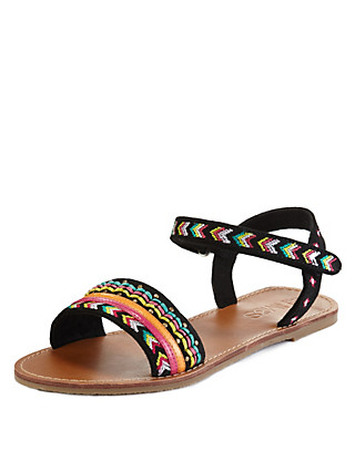 Leather Open Toe Aztec Print Strap Sandals Clothing