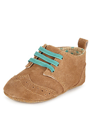 Suede Lace Up Brogue Pram Shoes Clothing
