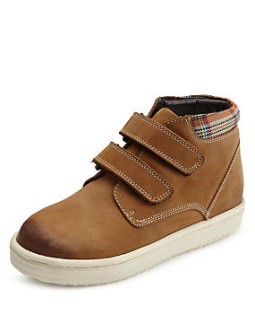 Kids' Suede Checked Cuff Ankle Boots, TAN, catlanding