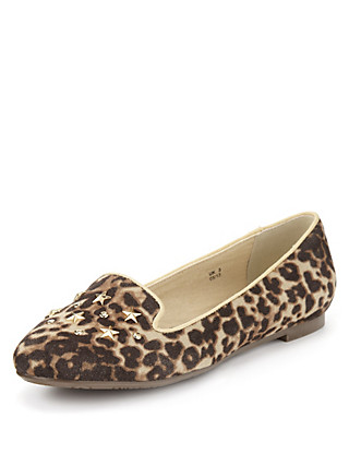 Stud Embellished Leopard Print Slip On Clothing