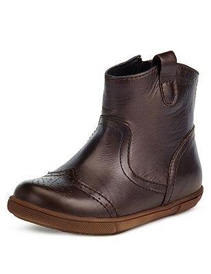 Kids' Leather Boots, BRONZE, catlanding