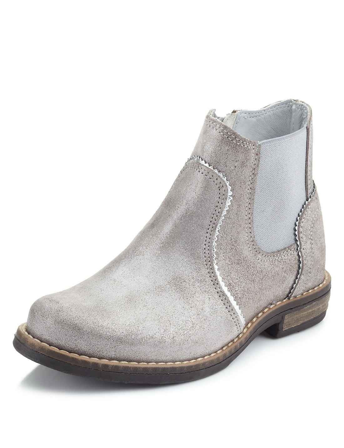 Leather Metallic Effect Ankle Boots (Younger Girls) | M&S
