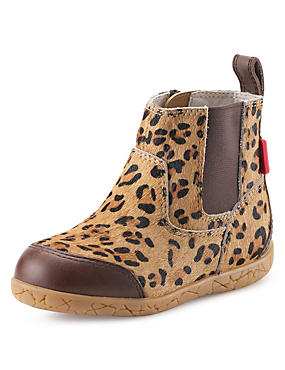Walkmates Leather Leopard Print Chelsea Ankle Boots (Younger Girls)