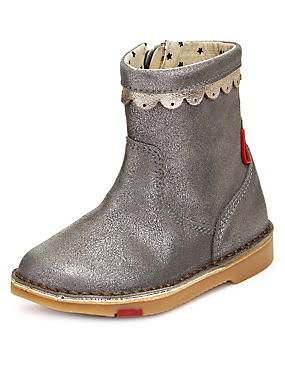 Walkmates Suede Sparkle Ankle Boots (Younger Girls)