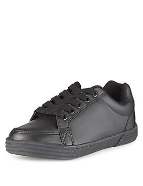 Kids' Freshfeet™ Coated Leather Scuff Resistant Shoes with Silver Technology, BLACK, catlanding