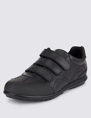 Freshfeet™ Leather Trainers with Insolia Flex® & Silver Technology (Older Boys), BLACK, catlanding