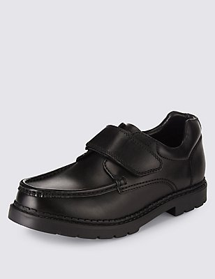 Kids' Leather School Shoes with Freshfeet™ & Insolia Flex®, BLACK, catlanding