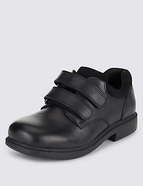 Zapatos infantiles Freshfeet™ de piel con tecnología de plata, NEGRO, catlanding