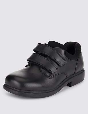 Freshfeet™ Leather Shoes with Silver Technology (Younger Boys), BLACK, catlanding