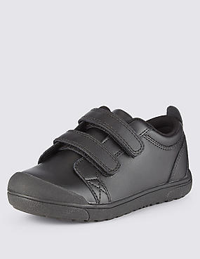 Kids' Leather Freshfeet™ Scuff Resistant Toe Bumper Trainers with Silver Technology, BLACK, catlanding
