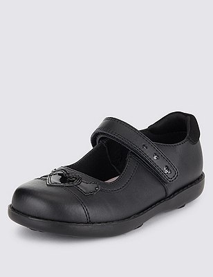 Kids' Freshfeet™ Coated Leather Shoes with Silver Technology, BLACK, catlanding