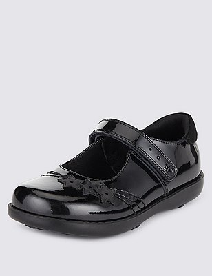 Kids' Freshfeet™ Scuff resistant Coated Leather School Shoes with Silver Technology, BLACK, catlanding