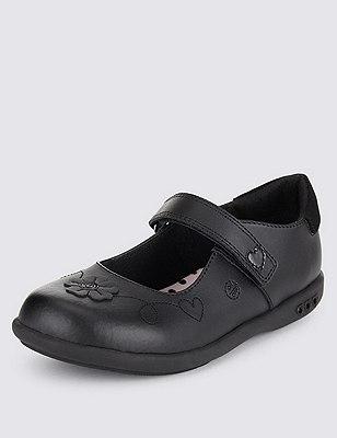 Coated Leather Flashing Light Cross Bar Shoes (Younger Girls), BLACK, catlanding