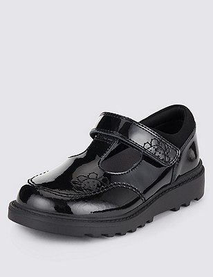 Kids' Freshfeet™ Coated Leather School Shoes with Silver Technology, BLACK, catlanding