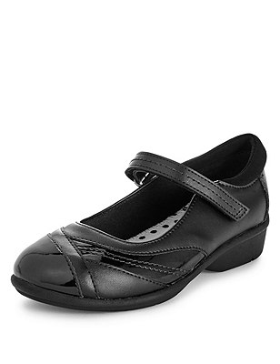 Freshfeet™ Scuff Resistant Coated Leather Mary Jane School Shoes with Silver Technology (Younger Girls), BLACK, catlanding