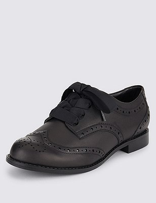 Freshfeet™ Leather Brogue Shoes with Insolia Flex® & Silver Technology (Older Girls), BLACK, catlanding