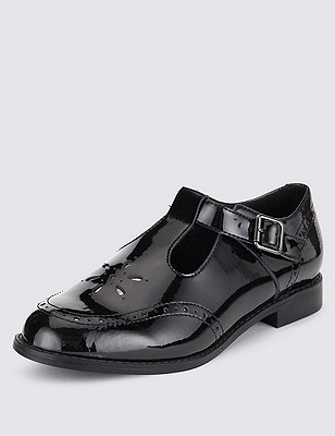 Kids' Freshfeet™ Coated Leather Shoes with Insolia Flex® & Silver Technology, BLACK, catlanding