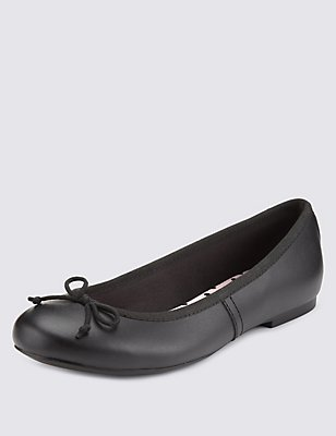 Kids' Leather Freshfeet™ Ballet Pumps, BLACK, catlanding