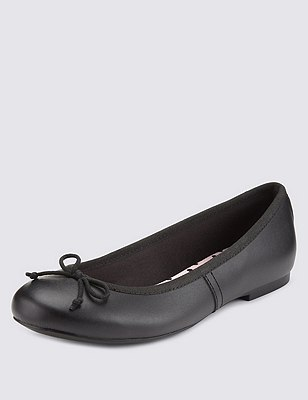 Kids' Freshfeet™ Leather Ballet Pumps with Insolia Flex® & Silver Technology, BLACK, catlanding