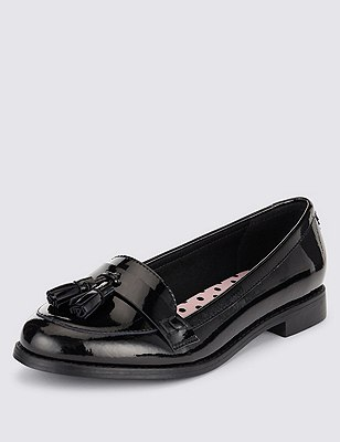 Freshfeet™ Leather Patent School Shoes with Insolia Flex® & Silver Technology (Older Girls), BLACK, catlanding