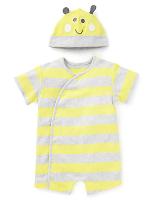 2 Piece Pure Cotton Striped Sleepsuit with Bee Hat Clothing
