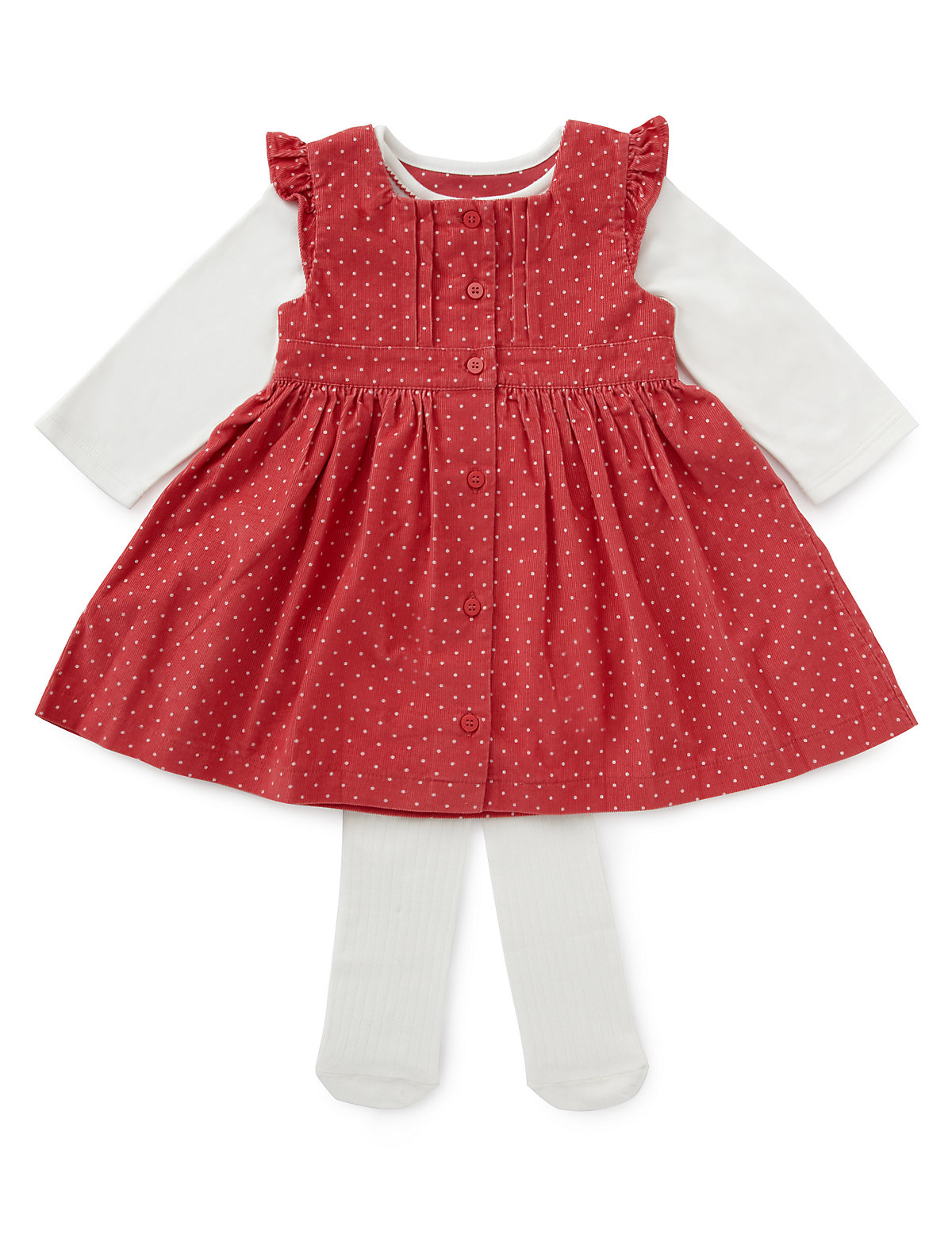 3 Piece Cotton Rich Spotted Corduroy Dress, Bodysuit & Tights Outfit