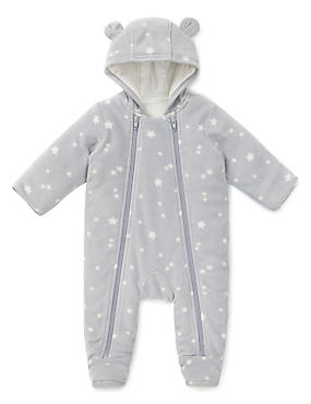 Star Print Fleece Pramsuit