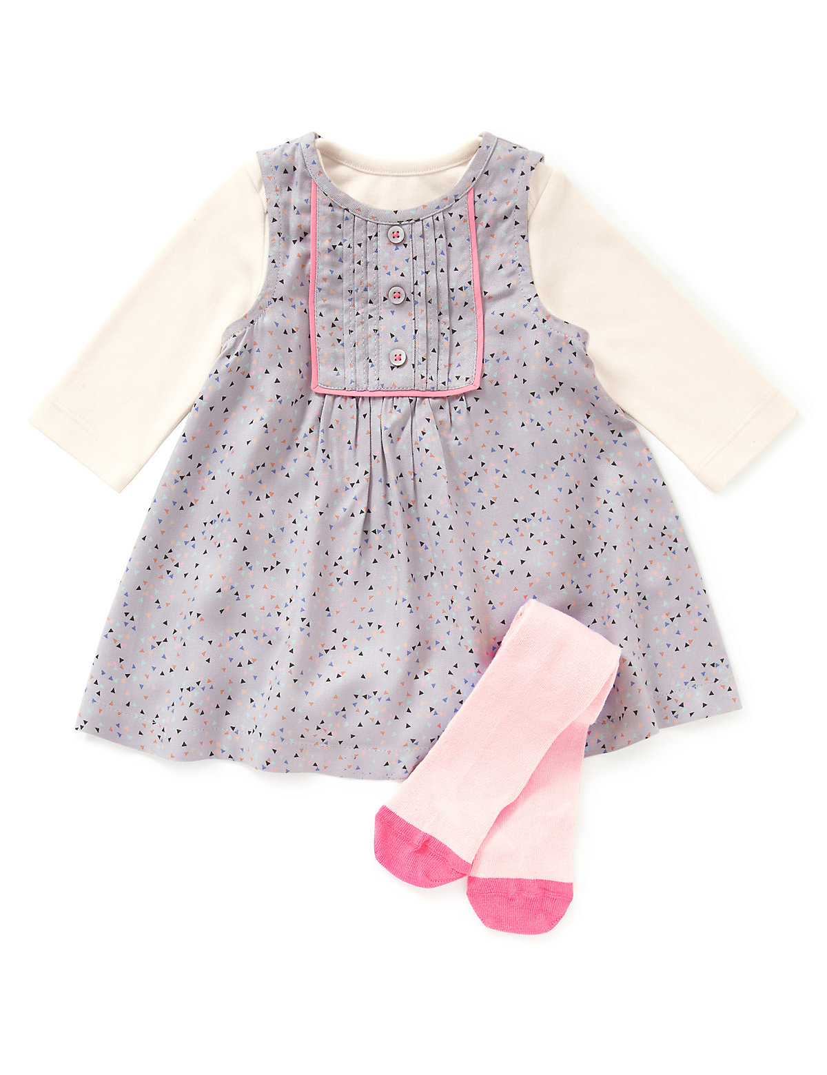 3 Piece Cotton Rich Corduroy Pinafore Dress, Bodysuit & Tights Outfit