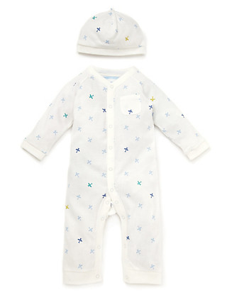 Pure Cotton Aeroplane Onesie with Hat Clothing
