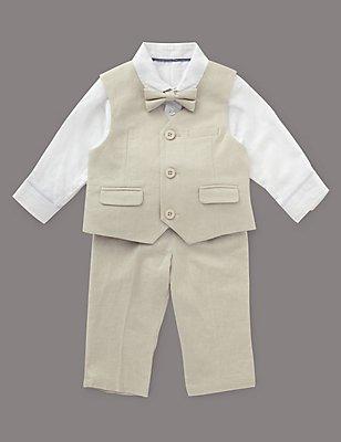 Linen Blend Christening Waistcoat Outfit, IVORY, catlanding