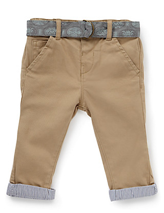 Cotton Rich Adjustable Waist Belted Chinos Clothing