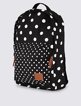 Gepunkteter Rucksack mit Fronttasche für Kinder, SCHWARZ MELANGE, catlanding