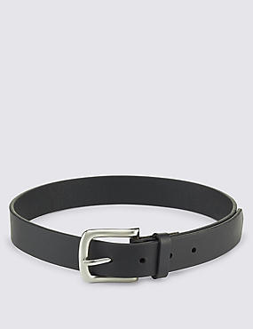Kids' Leather Square Buckle Belt, BLACK, catlanding