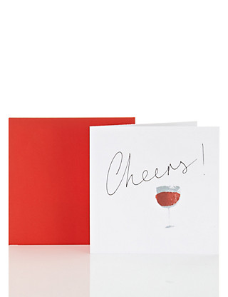 Cheers Wine Happy Birthday Card Home