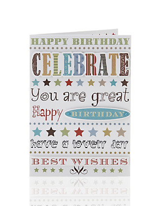 Celebrate Text Male Birthday Card Home