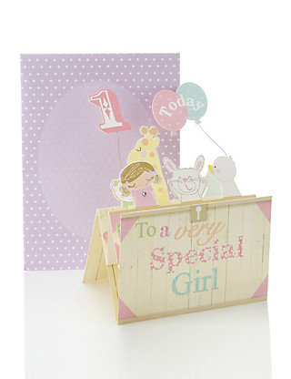 Girly Toy Box Age 1 Birthday Card Home