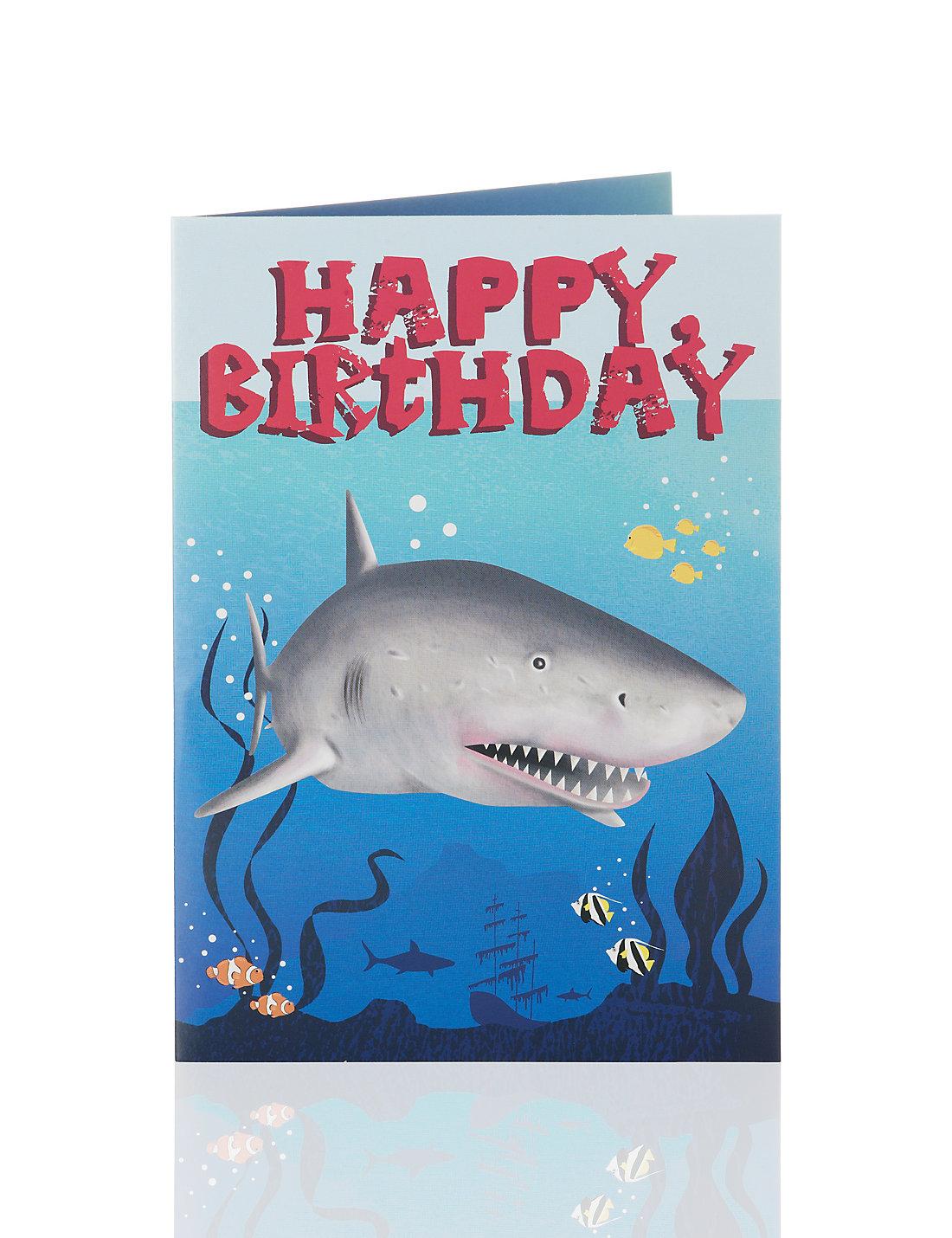 shark pop out birthday card  ms, Birthday card