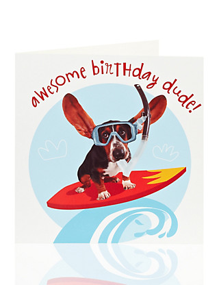 Boy Surfer Dog Kids Birthday Card Home
