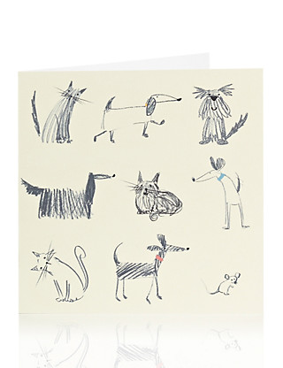 Sketchy Dog & Cat Blank Card Home